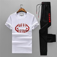 Boys & Men GUCCI Fashion Casual Shirt Top Tee Pants Trousers Set Two Piece