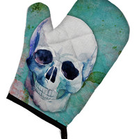 Day of the Dead Teal Skull Oven Mitt BB5123OVMT