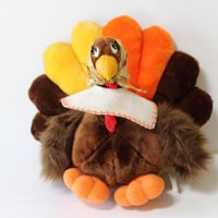 TURKEY PLUSH CENTERPIECE Talking Moving Thanksgiving Stuffed Animal Retro Toy