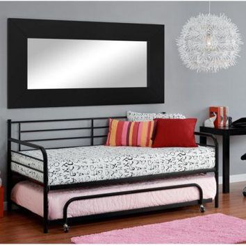 Trundle Twin Size Bed Daybed Metal Frame Dorm Bedroom College Contemporary Gray