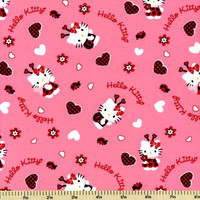 Hello Kitty Ladybug Toss Cotton  Fabric - Pink