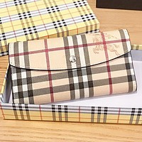 Burberry New fashion plaid stripe war horse leather handbag wallet purse