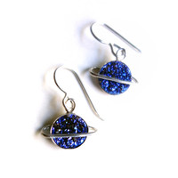 The Cosmos Collection- Drusy Saturn Dangles in Blue and Sterling Silver