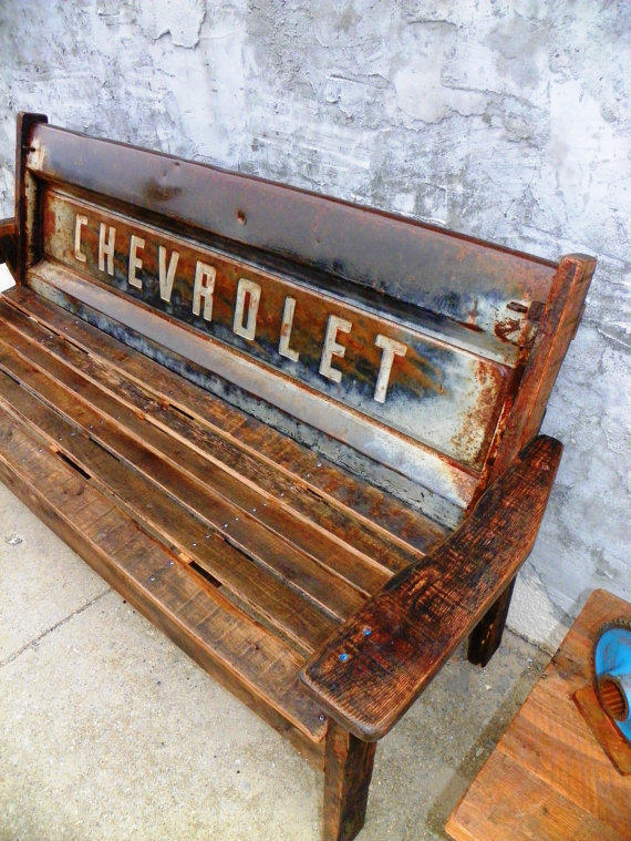 Brilliant Reclaimed 100 Barn Wood Chevy Tailgate Bench Squirreltailoven Fun Painted Chair Ideas Images Squirreltailovenorg