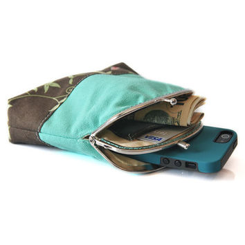 Wallet - Coin Purse with cards slot - Clutch Purse - Mint Teal with Brown - Double Pockets - Silver Frame