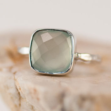 Silver Rings - Sea Foam Green Ring - Aqua Blue Chalcedony Stacking Ring - Gemstone Ring - Stackable Ring