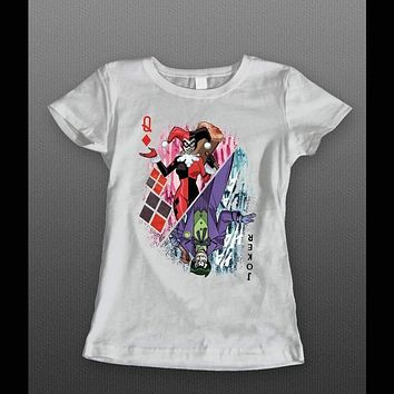 "JOKER AND HARLEY QUINN ""QUEEN OF HEARTS CARD"" LADIES SHIRT"