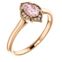 14K Gold Oval Morganite & .03 CTW Floral Halo Diamond Stackable Ring
