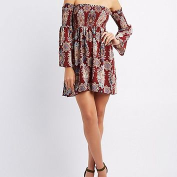 Floral Smocked Off-The-Shoulder Dress