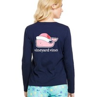 Long-Sleeve Santa Hat Whale Pocket Tee