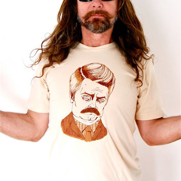 Men's Ron Swanson screen printed t shirt in creme