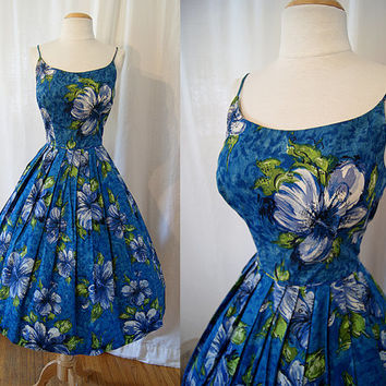 Killer 1950's Hawaiian  paradise new look summer sun dress tropical floral print tiki pin up pool party - size Extra Small to Small