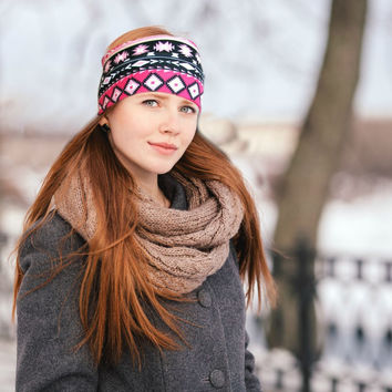 Wide Boho Headband Headwrap, Pink Tribal Headband, Womens Headband, Women's Earwarmer Stretchy Headband