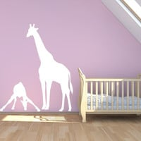 Mom And Baby Giraffe Vinyl Wall Decal Sticker