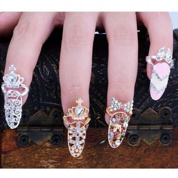 Fashion Bowknot Crystal Finger Nail Art Ring Jewelry Fake Nail Art Finger Rings