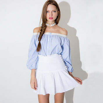 Blue and White Pinstripe Long Sleeve Off-shoulder Button Up Blouse