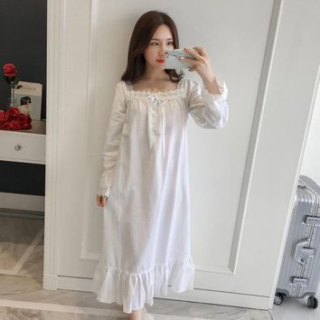 Women Sleepwear Dress Cotton Nightgown White Night Wear Vintage Gentlewoman Sleepwear Spring Autumn Nightdress