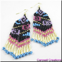 Handmade Earrings Beadwork Dangle Seed Beaded Colorful Geometric