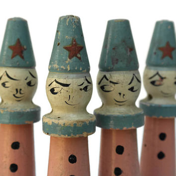 Antique Bowling Pins. French Clown Toy Skittles. French Bowling Pins. Nursery Decor.