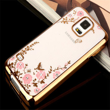 S3 S4 S5 Royal Crystal Rhinestone bling Plating Gilded Flower Soft TPU Cover Case For Samsung galaxy S3 i9300 S4 i9500 S5 i9600