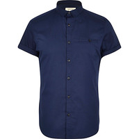 River Island MensNavy blue short sleeve stretch-cotton shirt