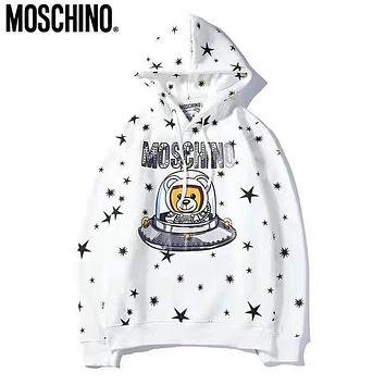 Moschino New Fashion Autumn And Winter Star Bear Letter Print Women Men Thick Keep Warm Hooded Long Sleeve Sweater Top White