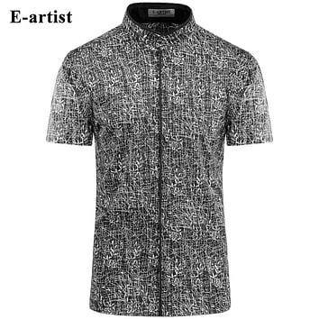 Men's Slim Fit Business Casual Short Sleeve Dress Shirts Male Bamboo Pattern Summer Cotton Tops