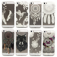 2016 HOT! Ultrathin Clear Beautiful Indiana Flowers Series Feather Pattern Cases For Apple IPhone 5G 5S 5 Phone Shell