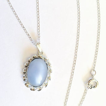 "Vintage Blue Moonglow Cabochon Glass Pendant in Sterling Silver Setting on 16"" Chain, Sky Blue, Baby Blue Victorian Pendant"