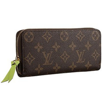 Louis Vuitton Monogram Canvas Zippy Wallet With Green Leather Zipper Pull 608254