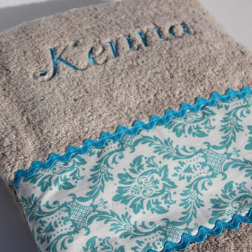 Personalized Damask Bath Towel Child or Adult