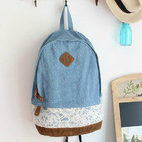 Light Blue Denim Lace Backpack
