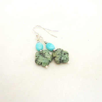Turquoise and Larimar Earrings, Flower Earrings, Blue Earrings, African Turquoise Earrings, Gemstone Earrings