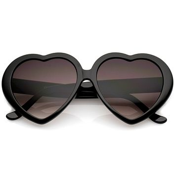 Women's Oversize Gradient Lens Heart Sunglasses 56mm