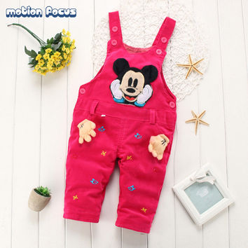 New Spring Baby Boy Girl Overalls Toddler Corduroy Cotton Outerwear Mickey Mouse Cartoon Suspender Pant 0-24M Newborn Clothing
