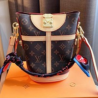 Louis Vuitton LV Women's Printed Letter Splicing Gold Buckle with Scarf Bucket Bag