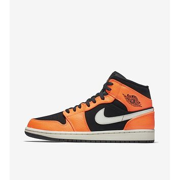 "Air Jordan 1 Mid ""orange"" basketball shoes/554724-062"