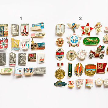Set of vintage badges USSR, soviet collectible commemorative sport and fan badges 70s-90s, multicolor metal soviet pins