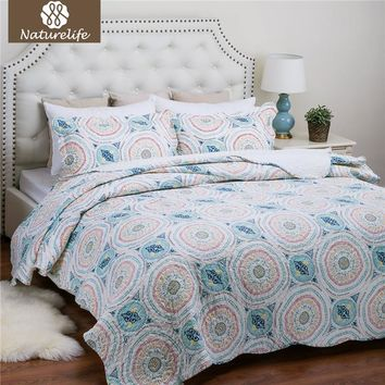 Naturelife Blue Aqua Boho Medallion Pattern Quilt Set Bedspread Bed Cover Quilted Bedding Set Quilts Lightweight Coverlet Set
