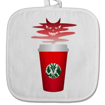 Red Cup Satan Coffee White Fabric Pot Holder Hot Pad by TooLoud