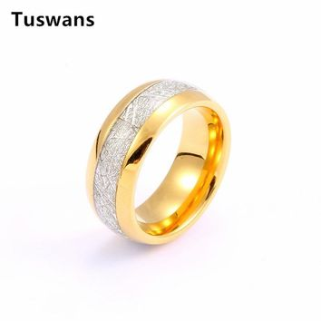 Elegant 8mm Width Domed Gold Color Men's Tungsten Ring with Meteorite Inlay Fashion Male Tungsten Carbide Ring(TSWR006)