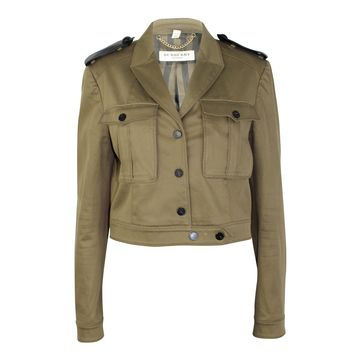 Cropped Cotton Twill Military Jacket