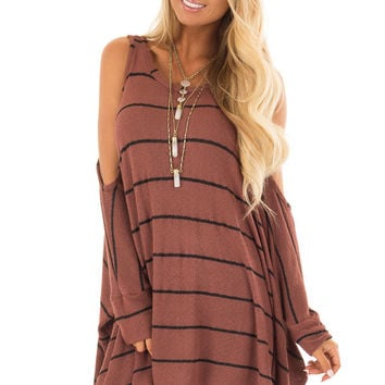 Rust Striped Cold Shoulder Knit Top with 3/4 Length Sleeves