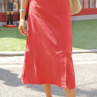 Car Diven Linen Slit Long Skirt