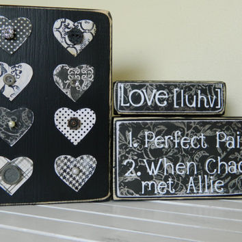 Love quotes on black wooden blocks for wedding by FayesAttic11