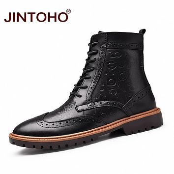 Men Geuine Leather Shoes Black Mid-Calf Men Boots Genuine Leather Male Boots Winter Shoes Ankle Boots