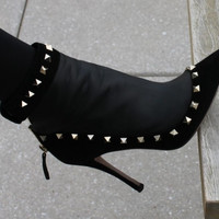 Shania Black Leather Studded Booties