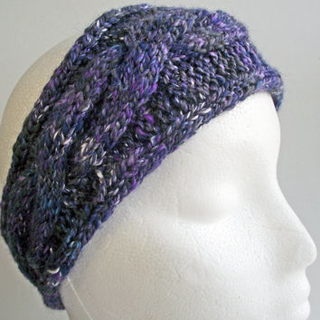 Knitted Purple  Headband, Grey Blue Shiny Art Yarn Hairband, Artisan Earwarmer, Handspun Knit Headband, Designer Yarn Headband, Merino Silk
