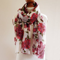 Purple Flower Pure Wool Scarf