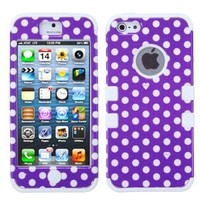MYBAT IPHONE5HPCTUFFIM012NP Premium TUFF Case for iPhone 5 - 1 Pack - Retail Packaging - Purple White Dots/Solid White